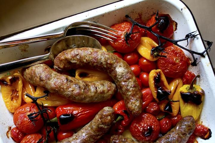 Sausage with vine tomatoes
